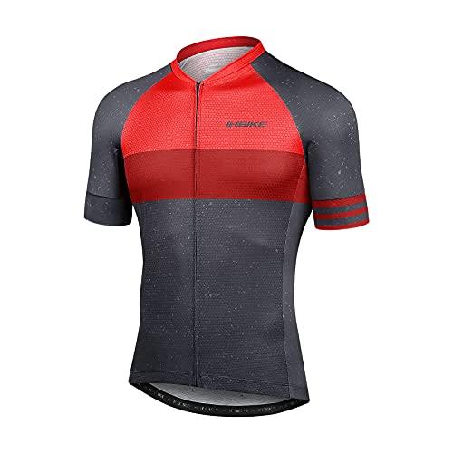 INBIKE Maillot Ciclismo Hombre Bicicleta Ropa Verano Bici Ciclista Camiseta Manga Corta Sin Mangas Mallot Bici MTB Transpirable (Rojo, L)