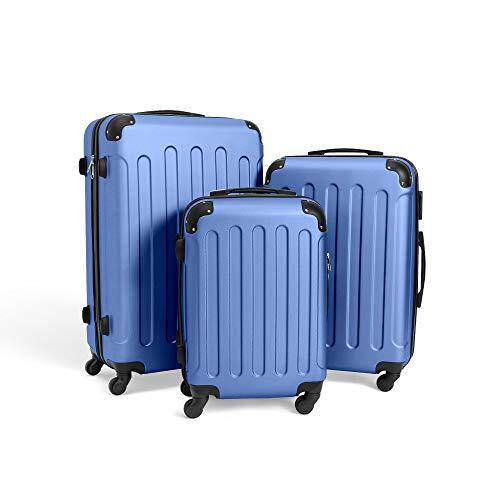 Todeco - Juego de Maletas, Equipajes de Viaje - Material: Plástico ABS - Tipo de Ruedas: 4 Ruedas de rotación de 360 ° - 51 61 71 cm, Azul Cielo, ABS, Esquinas protegidas
