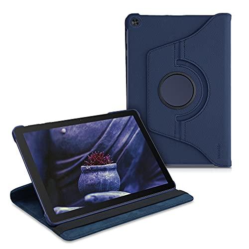 kwmobile Funda Compatible con Huawei MatePad T10 / T10s - Carcasa de Cuero sintético para Tablet en Azul Oscuro
