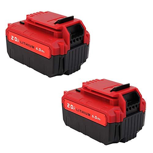 2Pack 6.0Ah PCC685L 20V Battery Replacement for Porter Cable 20Volt MAX Lithium Batteries PCC685L PCC680L