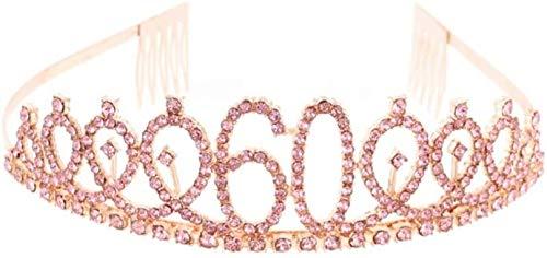 LQXZJ Geburtstag Crown 30. Strass Geburtstag Tiara mit Kamm-Kristallprinzessin Tiara Stirnband for Geburtstags-Party (Rose Gold) (Color : Rose golden 60th)