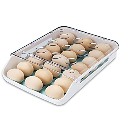 Qmpro Egg Holder Auto Scrolling Down for Refrigerator, Smart Stackable Antislip Deviled Egg Tray Food Container with Lid and Handle,Clear Plastic 21 Eggs (Blue Groove) by Qmpro