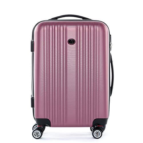 FERGÉ® Set di 3 valigie viaggio TOULOUSE - leggero bagaglio rigido dure da 3 ABS duro tre pz. valigie con 4 ruote (multidirezionali 360°) rosa