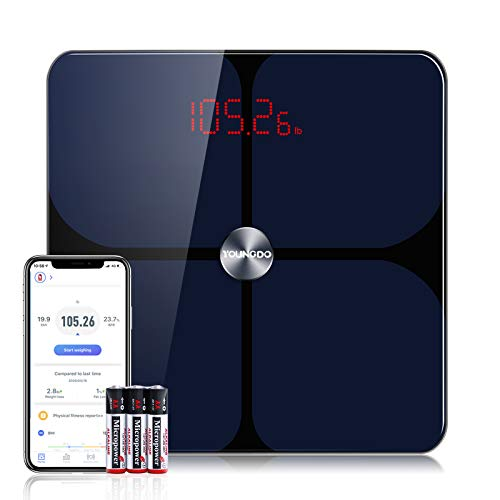Smart Scale, YOUNGDO Body Fat Scale with Bluetooth, Wireless Digital Bathroom Scale for Weight, Fitness Body Composition Analysis, 19 Measurements, Unlimited Users, APP, 396 lbs/180kg