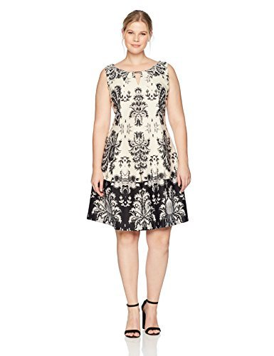 Gabby Skye Women's Plus Size Full Figure Tribal Printed a-Line Dress, ECRU/Black