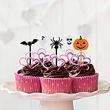 Kesote 100x Cupcake Topper Tortendeko Halloween Kuchendeko Fruit Picks Kuchen Dekoration Tortenstecker Kinder Party, Kürbis Fledermaus Schädel Geist Spinne - 6