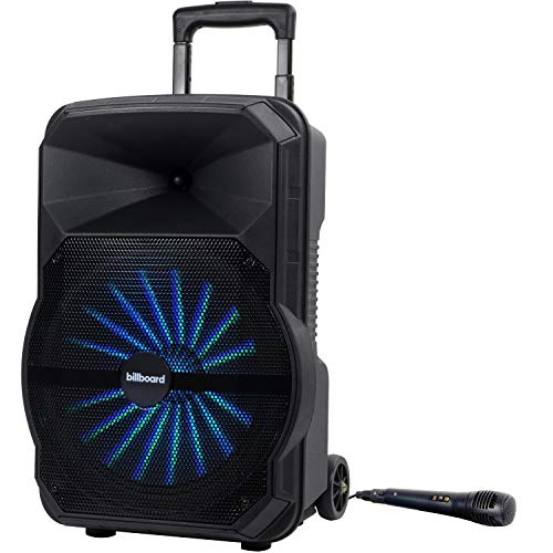 Billboard BB2714 Rechargeable Speaker for Parties with 12' Speaker, LED Lighting, Wired Microphone Inputs, FM Radio, AUX Cable, and Speaker PRO Phone App Controls