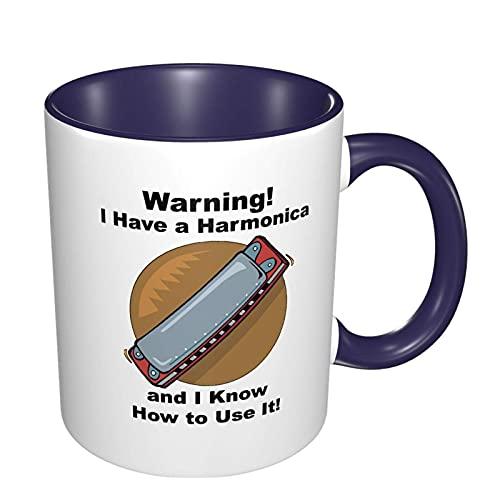 N\A ¡Advertencia! Tengo una Taza de café de Moda con armónica para papá, mamá, Regalo Divertido y Genial, Tazas de café novedosas