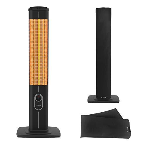 ICQN 2500 Watt Staande warmtestraler met beschermhoes & afstandsbediening | Infarot | Infarotverwarming voor binnen en buiten | Staande verwarming | IP20 | Digitaal display | IC2500.RB zwart