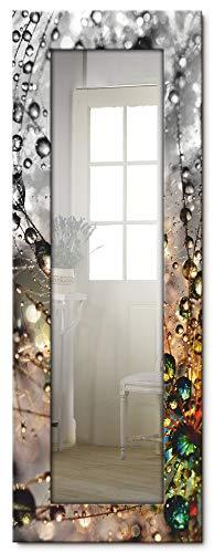 Artland Ganzkörperspiegel Holzrahmen zum Aufhängen Wandspiegel 50x140 cm Design Spiegel Natur Blumen Pusteblume Wassertropfen Bunt T9IN