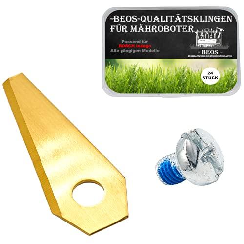 BEOS® 24 x PREMIUM TITAN Bosch Indego Ersatzmesser + Schrauben mit Sicherung- Ersatzklingen für Bosch Indego Mähroboter – 1 mm Messerstärke für langes Rasenmäher Roboter Vergnügen – Indego Zubehör-