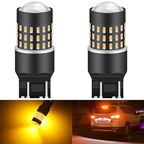 KATUR 7440 7443 7444 992 Bombilla de luz LED 3014 54 Conjuntos de Chips de 650 lúmenes Reemplace para respaldar la señal de Giro Luces de Freno de Freno de Cola de Marcha atrás, ámbar (Paquete de 2)