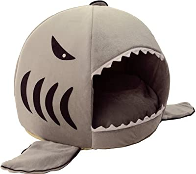 a shark shaped cat bed by HotelPaw