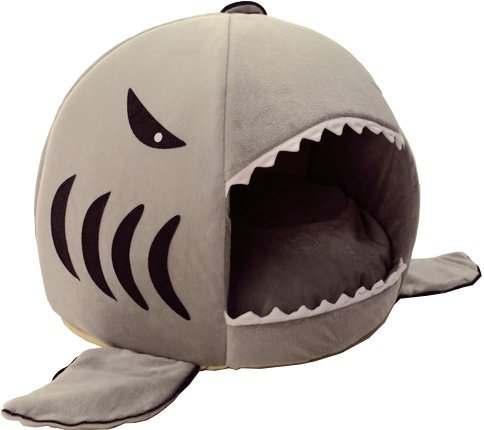 HotelPaw Shark Pet House with Removable Bed Cushion Mat for Dogs and Cats - Small, Gray