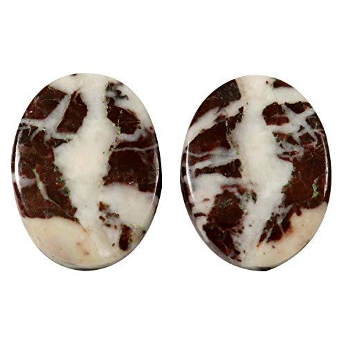 Gems&JewelsHub KY81 - Par de jaspe de cacao natural cabujón de piedras preciosas sueltas ovaladas de 32,65 quilates