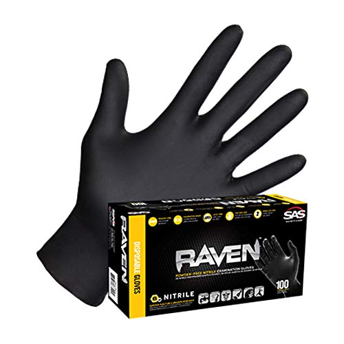 SAS66518 SAS Safety Raven Powder Free Examination Black Nitrile Gloves - Large