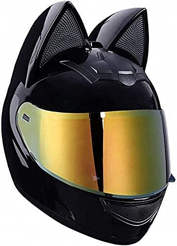 Cat Ears Casco de Moto Casco Integral de Moto Protección Facial Gafas Chapadas en Oro Forro Extraíble y Lavable Racing Kart Casco Integral Unisex Certificado ECE C,XL(60-62)