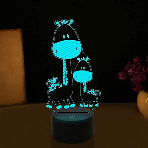 3D Herten Giraf Illusie Lamp Nachtlampje 7 Kleuren veranderen Touch USB Tafel Leuk Gift Speelgoed Decoratie