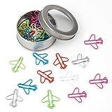1 Box / 24 Stück Flugzeug-Papierklammern in lustigem Lesezeichen, Papierklammern aus Metall, für Notizen, Lesezeichen, Schreibwaren, Geschenk, verschiedene Farben