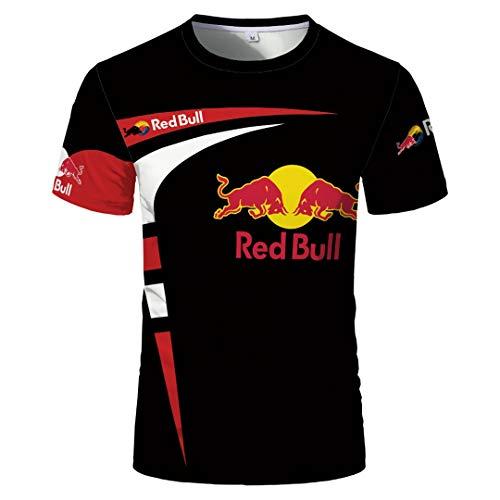 Herren Sommer Rundhalsausschnitt Kurzarmhemd RED Bull Bedruckte Kontrastfarbe Pullover T-Shirt Vielseitig Atmungsaktiv Sport Lässig Kurzarmhemd S Größe Bis 5XL Und 7 Farben Erhältlich (6,M)