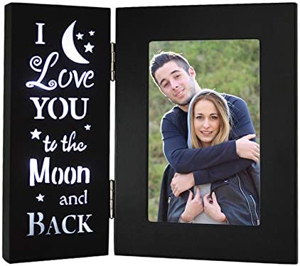YEASL Love Black Picture Frame 4X6 I Love You to The Moon and Back Wood Photo Frame Couples product image