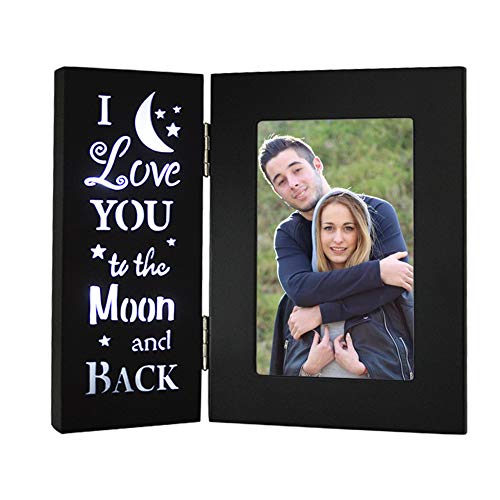 YEASL Love Black Picture Frame 4X6 - I Love You to The Moon and Back Wood Photo Frame,Couples Mother...