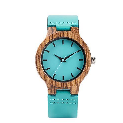 Pareja de Relojes de Madera Reloj de Pulsera de Cuarzo Elegante Correa de Reloj de Cuero Azul Reloj Minimalista de Amantes de la Madera de Cebra 1xMen1xWomen