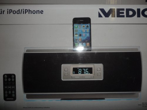 MEDION 2x50 Watt Musikcenter Uhrenradio Wecker mit Docking für iPod/iPhone P65028 MD 83503