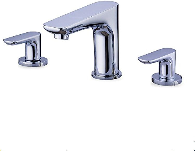 SHLONG Waschbecken Wasserhahn aus reinem Kupfer Chrom Split drei-Loch Doppelgriff Becken Wasserhahn Bad Wasserhahn