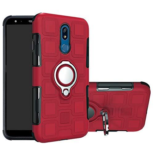 LFDZ LG K40 Hülle, 360 Rotation Verstellbarer Ring Grip Stand,Ultra Slim Fit TPU Schutzhülle für LG K40 / K12 / K12 Plus Smartphone,Rot