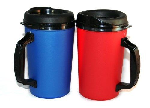 GAMA Electronics 2 ThermoServ Foam Insulated Coffee Mug 20 oz w/Lids (1) Blue & (1) Red