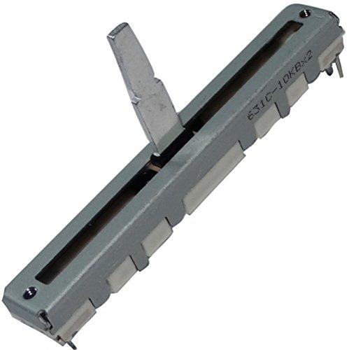 Aerzetix: 2x Potentiometer Schieber 3 / 4mm linear Stereo 10 kOhm ± 20% 125mW THT 60x8x7mm C14918