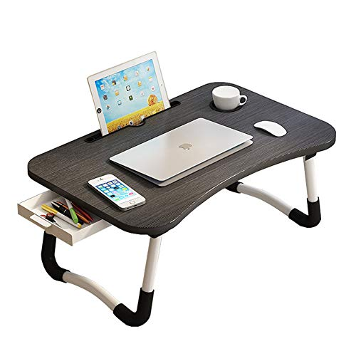 Plasaig Laptop Desk, Portable Laptop Bed Tray Table, Lap Desk, Couch Table, Bed Desk Table With Desktop Card Slot & Cup Slot & Side Drawer for Bed, Sofa (A)