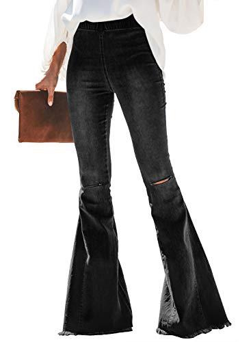Sidefeel Women Destoryed Flare Jeans Elastic Waist Bell Bottom Tassel Denim Pants Large Black