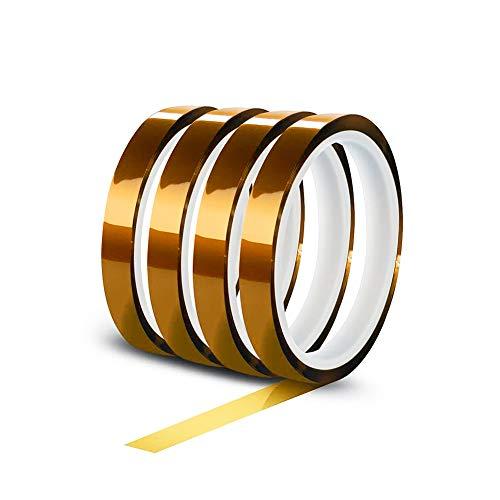 YIXISI 4 Stücke Kapton Tape, Hohe Temp Tape, Hohen Temperaturen Hitzebeständig Klebeband, Polyimid Film Klebeband (12mm * 33m)