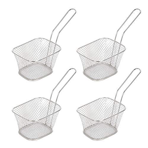 Suszian Mini Chip Baskets, 4PCS Mini Pommes Frites Basket Kartoffelchips Bratkorb Bratbehälter mit Griff