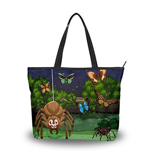 Bolsa de la compra con cremallera, diseño de mariposa, araña, para mujer, grande, reutilizable, con asa superior, para la escuela, trabajo, gimnasio, playa, viajes al aire libre
