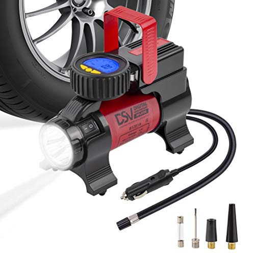 DSV Standard Air Compressor Tire Inflator 12V DC Portable 150PSI Tire Pump for Car Tires with Automatic Shut Off, Luminescent Digital Pressure Gauge and Led Light. for Car, Bicycle, Inflatables