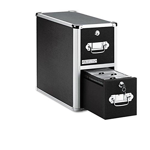 Vaultz Locking CD File Cabinet, 2 Drawers, 8 x 14.5 x 15.5 Inches, Black (VZ01094)