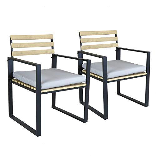 Charles Bentley Industrial Lattenrost Extrusion Aluminium Paar Stühle mit 5 cm Dickem Kissen - Ideal für das Essen im Freien in Schwarz
