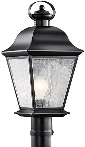 """Mount Vernon 19.5"""" 1 Light Outdoor Post Light with Clear Seeded Glass in Black"""