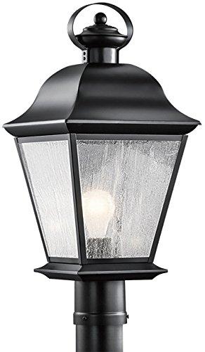 Kichler 9909BK Mount Vernon Outdoor Post, 1 Light Incandescent 150 Watts, Black