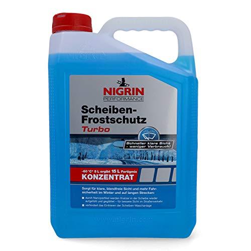Nigrin 20561 Scheiben-Frostschutz Turbo Konzentrat 5 Liter ergibt bis zu 15 Liter Fertigmix bis -60°, sofort mischbereit,schlierenfrei