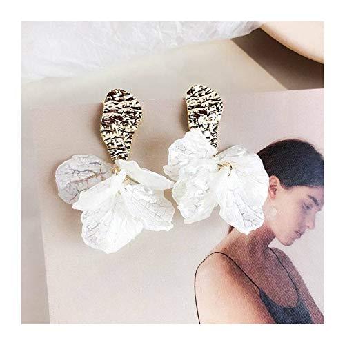 LUOSI Clip De Pétalo De Flor De Acrílico Blanco En Pendientes para Mujeres De Moda Sin Pendiente Perforada (Metal Color : Gold)