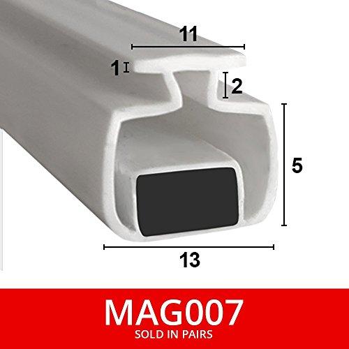 magnetisch Dusche Dichtungen für Kanäle | aus zwei | weicher flexibler faltbar, weiß Gummi T mit Magnet | passt in 11mm Kanal | 2Meter lang | mag007