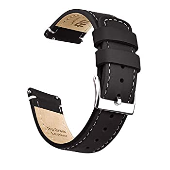 Ritche 20mm Quick Release Leather Watch Band Compatible with Samsung Gear S2 Watch Brown Genuine Leather Watch Bands for Men