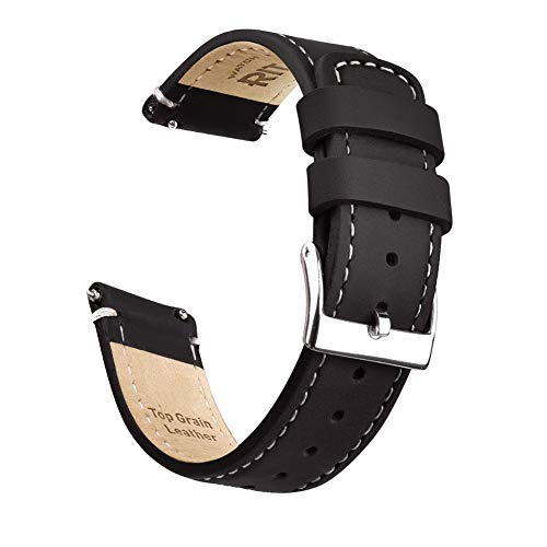 Ritche 22mm Quick Release Leather Watch Band Compatible with Samsung Gear S3 Watch Black Genuine Leather Watch Bands for Men