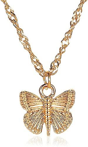 NC190 Verano Creativo Simple Mariposa Colgante Collar Encantador Oro Plata Color clavícula Cadena joyería niña Accesorios de Fiesta