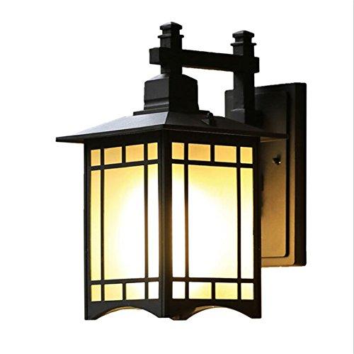 TRADE® Applique murale extérieure Lampe simple Alliage d'aluminium Lampe murale Avec gris Panneau en verre Imperméable à l'eau Carré Lampe murale Porche Deck Terrasse Balcon