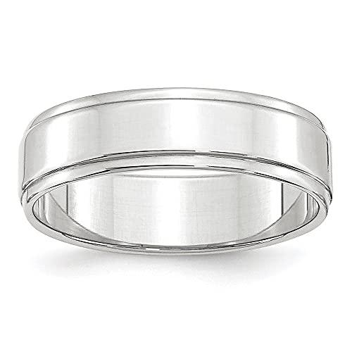 10K Blanco Oro 6mm anillo de banda de borde plano con paso tamaño 9,5